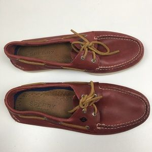 Sperry Top Sider Red Leather Boat Shoes Men's 13